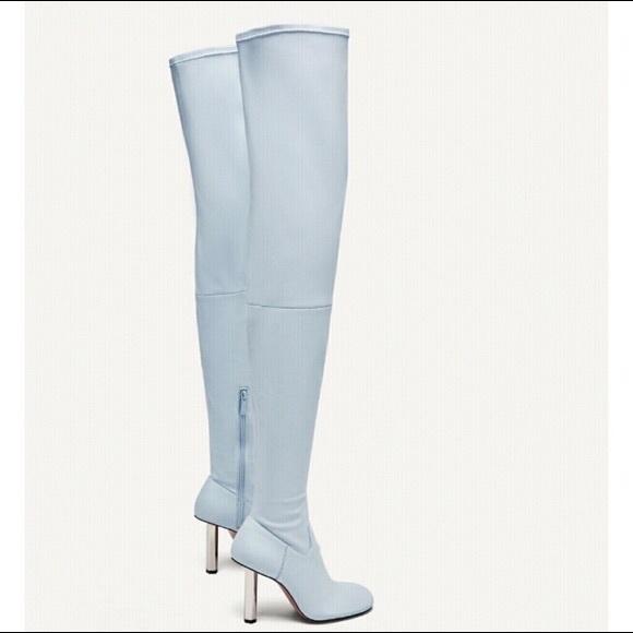 Zara Sky Blue Trafaluc Thigh High Boots